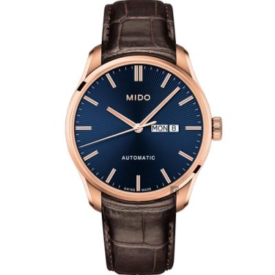 MIDO美度 Belluna Gent 經典日期機械錶-藍x咖啡色錶帶/42mm M0246303604100