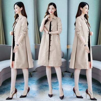 時尚簡約雙口袋排釦風衣外套M-2XL(共三色)-SZ