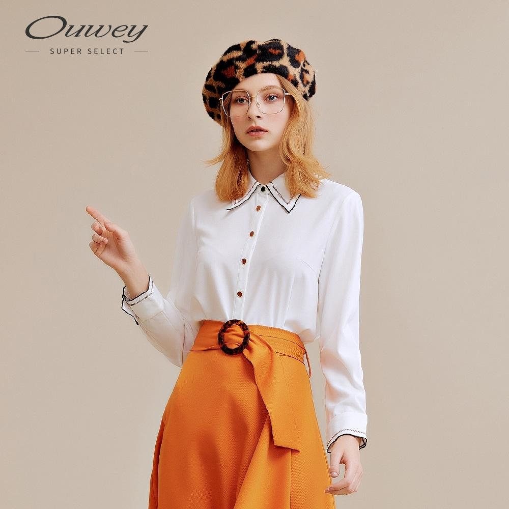 OUWEY歐薇 復古精緻刺繡車線造型領襯衫(白)