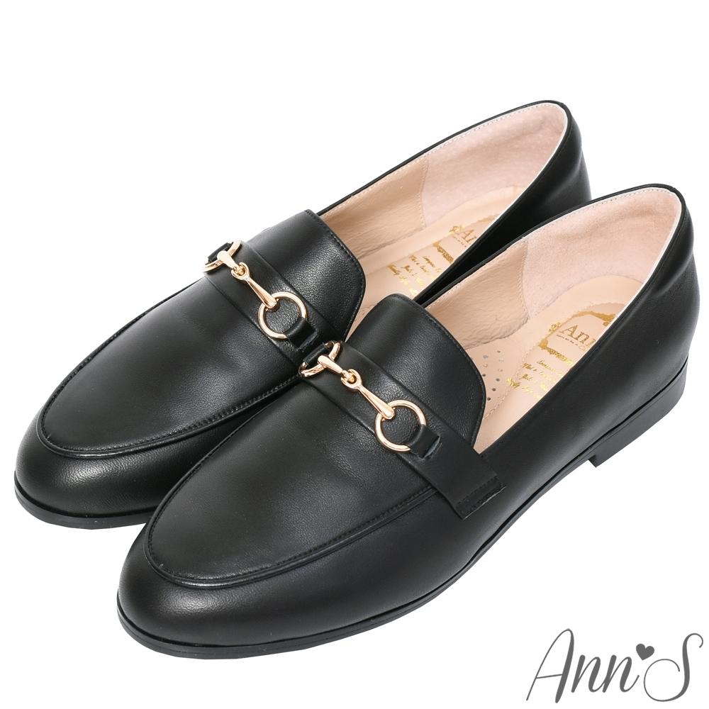 Ann'S經典風格-柔軟羊皮金釦平底紳士鞋-黑(版型偏大)