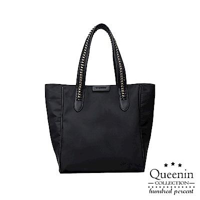 DF Queenin日韓 - 韓版簡約時尚潮女手提單肩牛津托特包