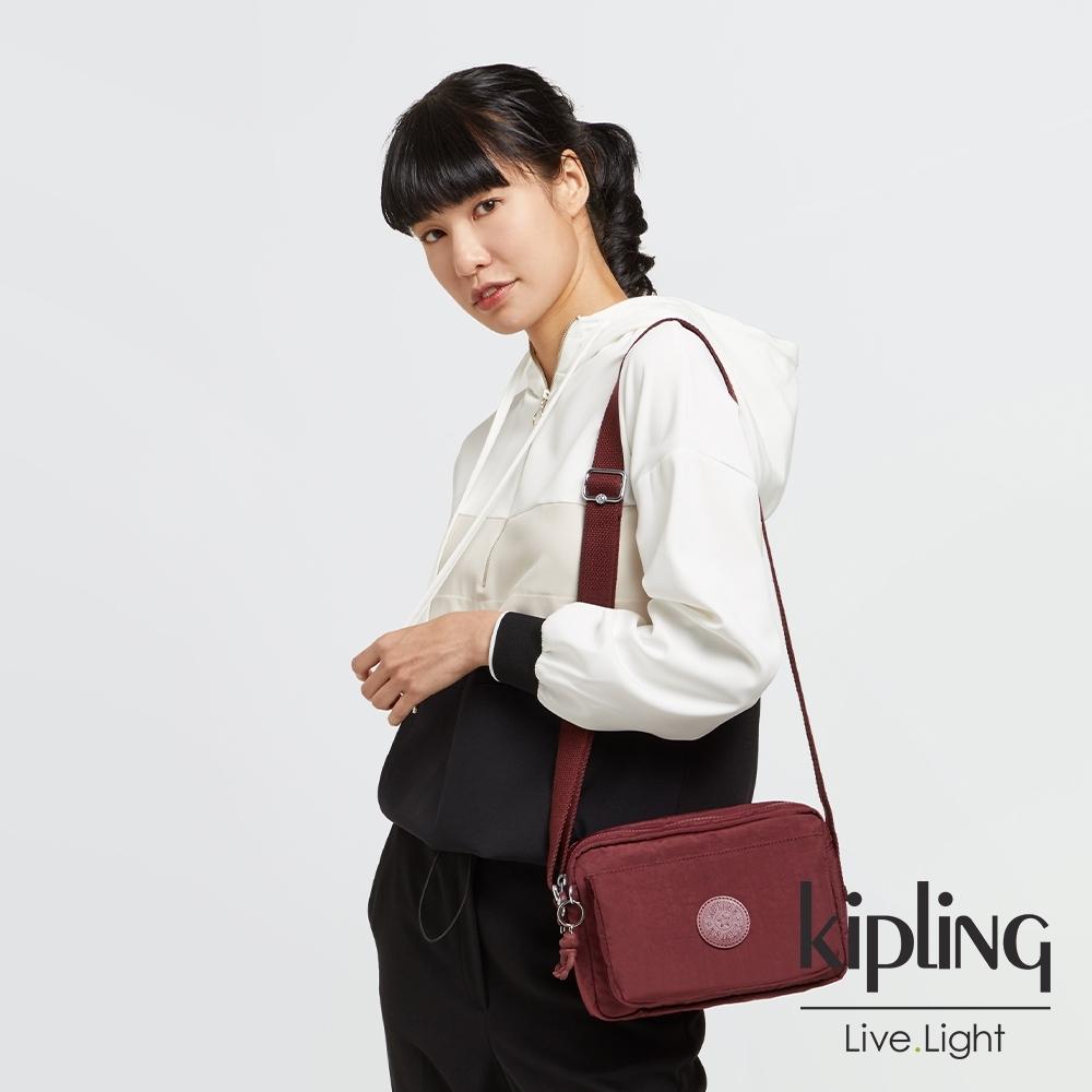 Kipling 迷人微醺紅多層隨身斜背包-ABANU M