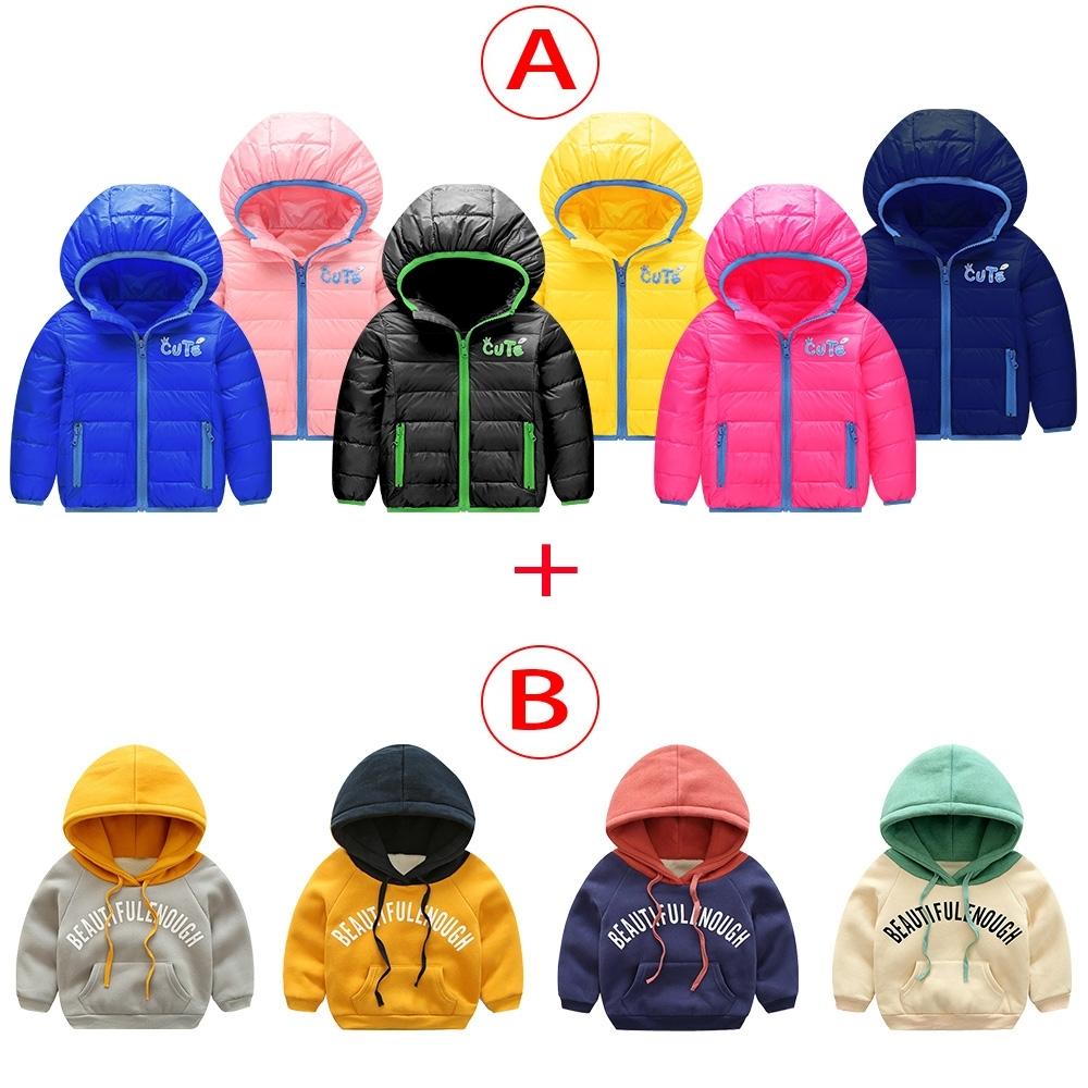 [限時搶] 獨家組合 買兒童羽絨綿保暖外套+送保暖帽T上衣