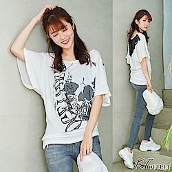 KT 街頭ROCK風時尚上衣-白色/灰色