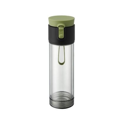 【PO:Selected】丹麥雙層泡茶防摔隨手杯(外杯570ml,玻璃內杯375ml) (內層玻璃外層PP) (墨綠)