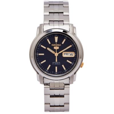 SEIKO 五號機機芯款機械不鏽鋼錶帶手錶(SNKL79K1)-藍面x金色/37mm