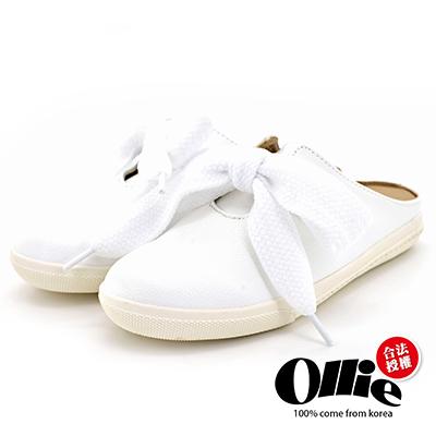 Aviator*韓國空運-Ollie正韓製蝴蝶結皮革質感穆勒鞋-白
