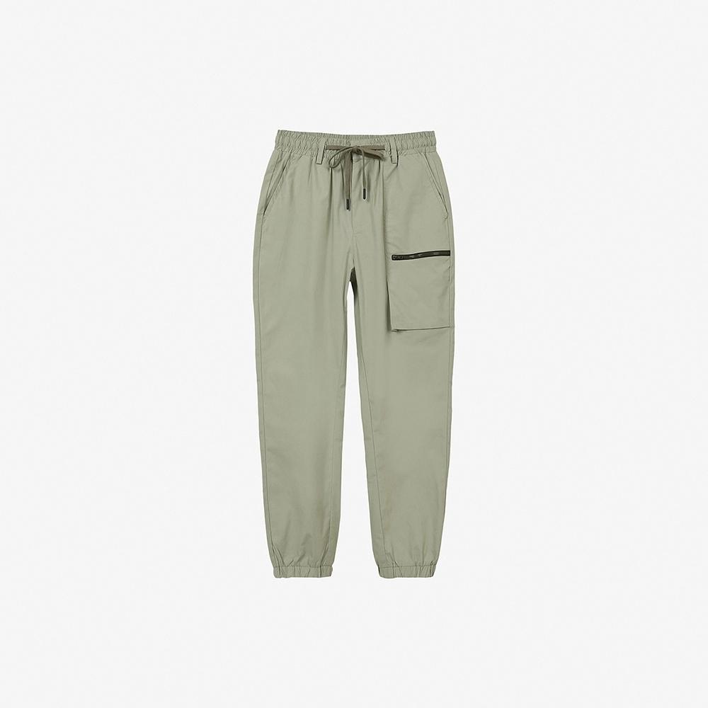 H:CONNECT 韓國品牌 男裝-純色口袋設計抽繩鬆緊長褲-藍綠色 @ Y!購物
