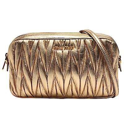 MIU MIU 經典Matelasse系列金色LOGO羊皮皺摺雙拉鍊手拿/斜背小包(金) @ Y!購物
