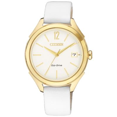 CITIZEN 星辰L 光動能靜謐柔美皮帶腕錶-金(FE6148-10A)
