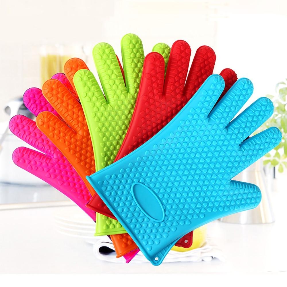 EZlife 矽膠防滑烘焙隔熱手套1只(顏色隨機)