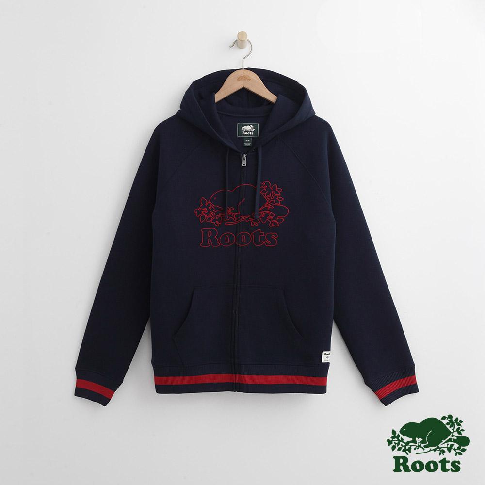 Roots 男裝-刺繡海狸連帽外套-藍