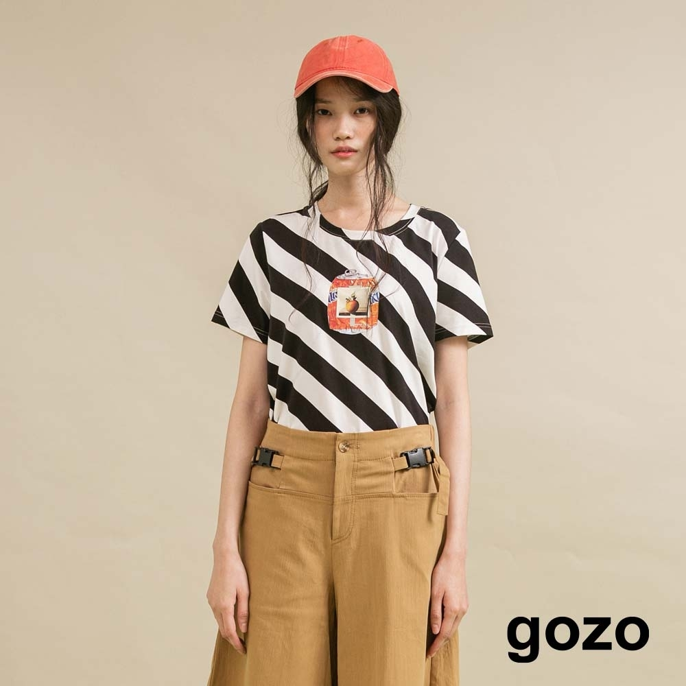 gozo 斜條紋造型印花T恤(二色)