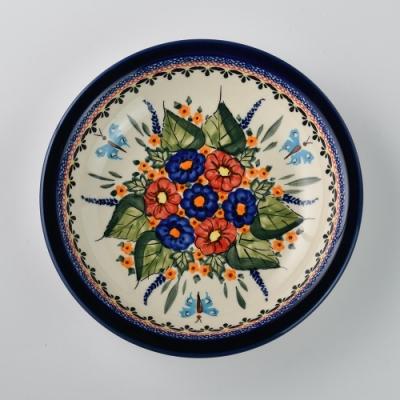 波蘭陶 夢蝶游春系列 圓形深餐盤 22cm 波蘭手工製