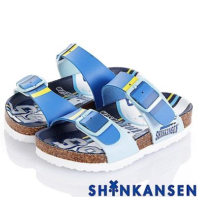 (雙11)ShinKanSen新幹線 舒適腳床型拖鞋童鞋-藍
