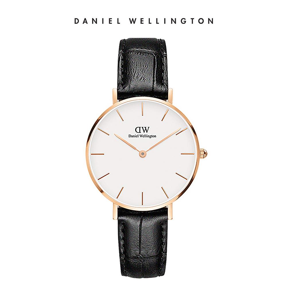DW 手錶 官方旗艦店 32mm玫瑰金框 Classic Petite 爵士黑真皮壓紋錶