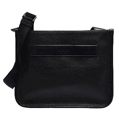 PRADA 經典品牌LOGO烙印牛皮方形斜背包(黑)