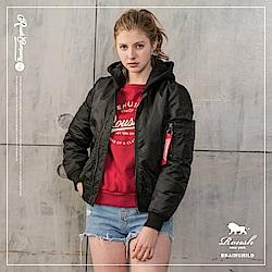 ROUSH 女生MA-1黑色連帽鋪棉飛行外套(帽可拆) (2色)