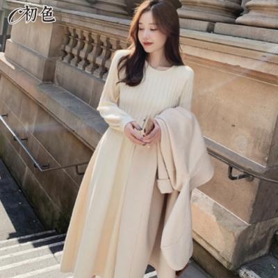 初色  韓版圓領針織連身裙-共3色-(F可選)