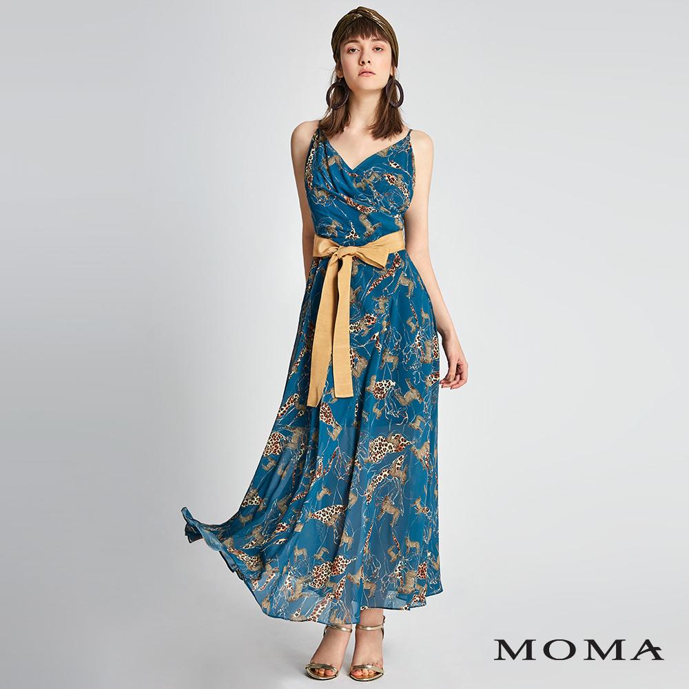 MOMA 動物紋雪紡綁帶洋裝