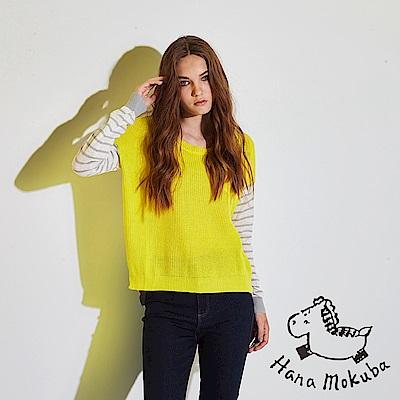 Hana+花木馬 無印簡約條紋印花拼接前短後長麻✕棉粗針織造型上衣-黃(共2色)