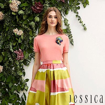 JESSICA - 率性簡約徽章造型修身上衣(粉)