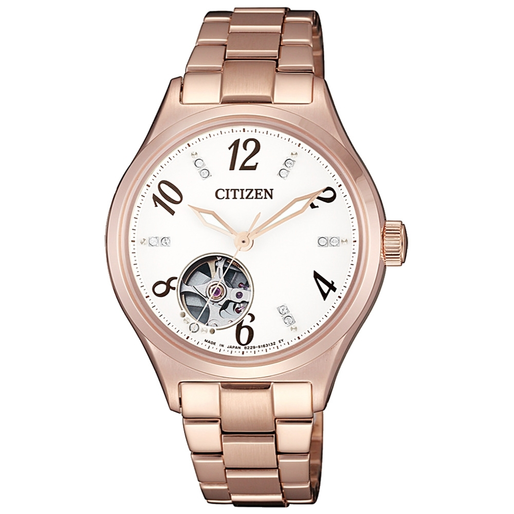 CITIZEN 晶彩時刻機械腕錶-玫瑰金(PC1002-85A)/35mm