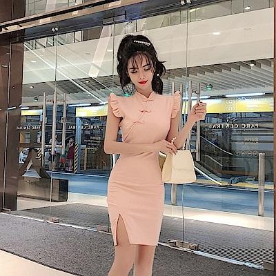 DABI 中國風復古飛飛袖改良旗袍開叉包臀無袖洋裝
