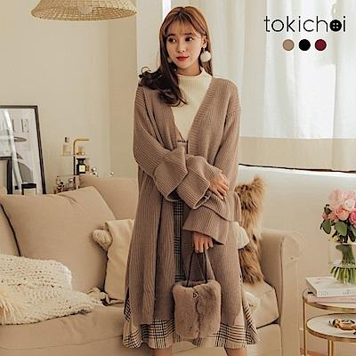 東京著衣 慵懶輕甜多色蛋糕荷葉袖針織外套(共三色)