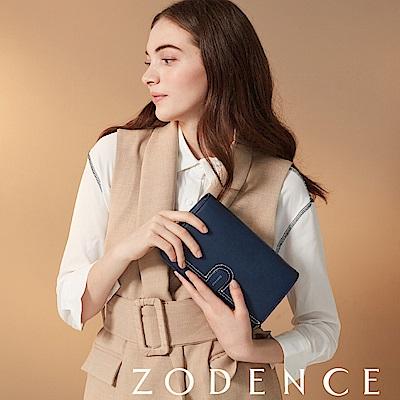 (網路限定)ZODENCE 35周年限定進口牛皮斜背小包 深藍