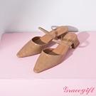 Grace gift-一字繫帶後空中跟鞋 棕壓紋