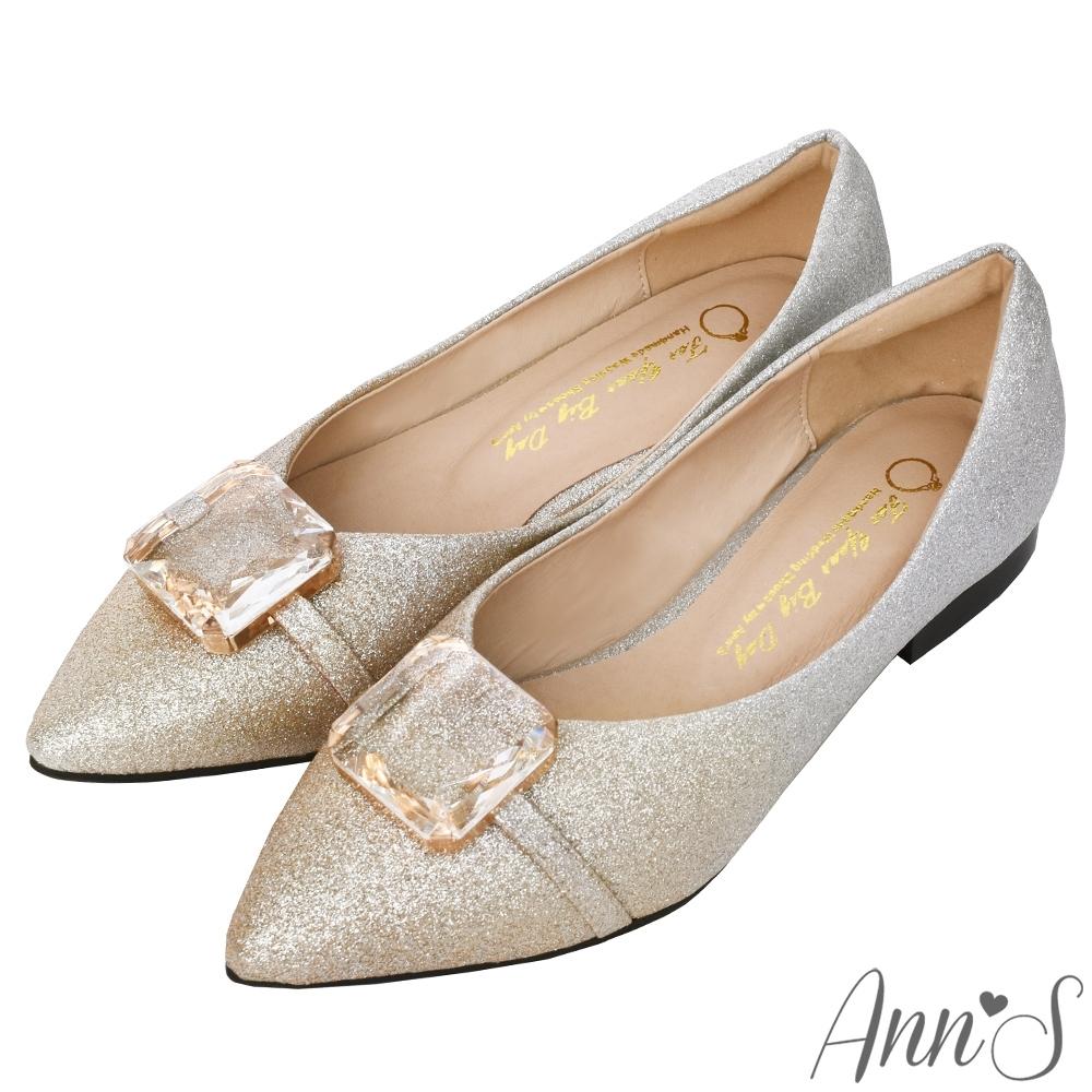 Ann'S魔鏡魔鏡-夢幻漸層透明玻璃石尖頭平底婚鞋(版型偏小)