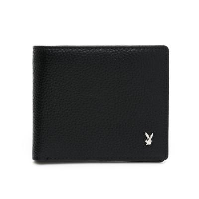 PLAYBOY - 翻蓋短夾附零錢袋 Calm系列- 黑色