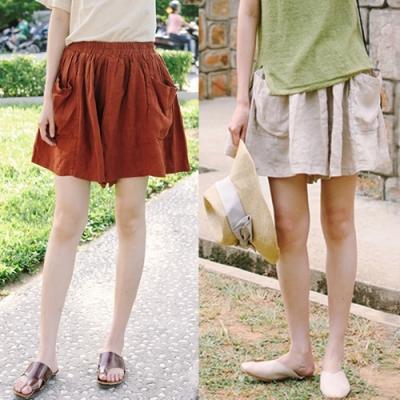 短褲-亞麻寬鬆寬管薄版褲裙文藝-設計所在