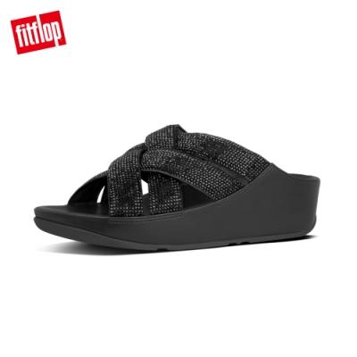 FitFlop LATTICE CRYSTAL CROSS SLIDES 閃耀水鑽涼鞋-女(靓黑色)