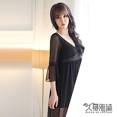 性感睡衣 浪漫蕾絲透紗長裙睡衣。黑色 久慕雅黛