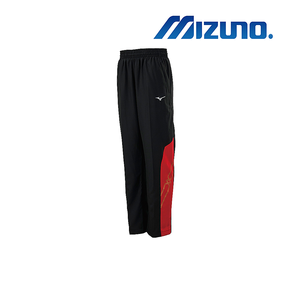 MIZUNO 美津濃 男平織運動長褲 黑x紅 32TD908596