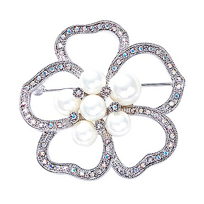RJ New York純潔白珍珠花手工鑲水晶胸針別針兩用 白色