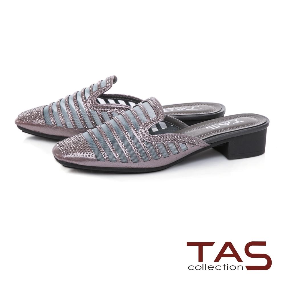 TAS水鑽異材質拼接穆勒鞋-質感灰
