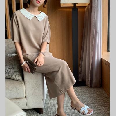 2F韓衣-簡約襯衫螺紋領素色造型洋裝-3色(F)