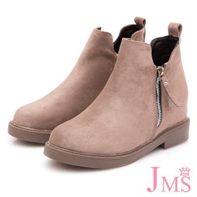 JMS-知性迷人造型雙拉鍊內增高短靴-杏色