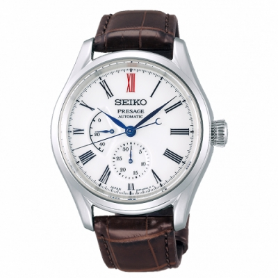 SEIKO 精工 Presage有田燒真皮機械手錶SPB095J1-白X咖啡/40.5mm