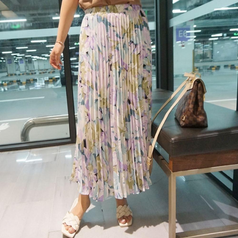 La Belleza時尚減齡甜美花朵水墨油畫半身裙鬆緊腰百褶裙印花長裙(有內襯) product image 1