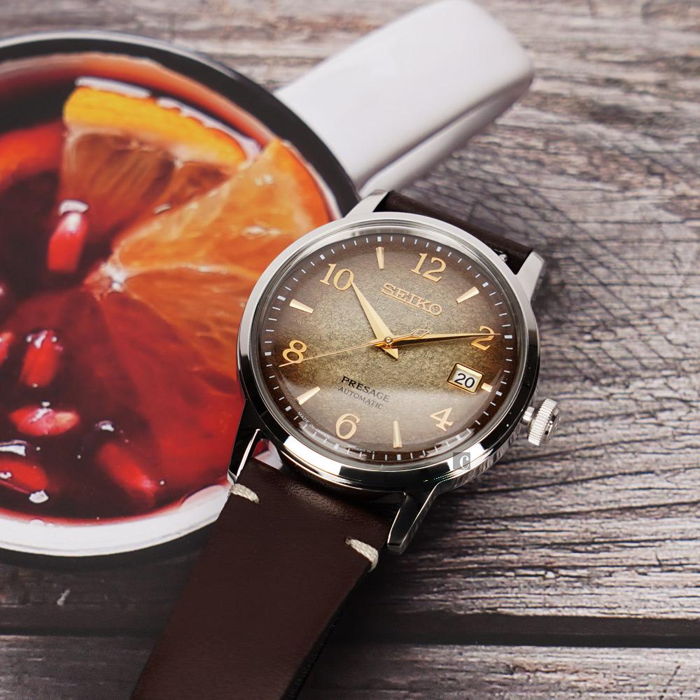 SEIKO精工 Presage 焙茶 限量調酒師機械錶(SRPF43J1/4R35-04G0Q)-38.5mm