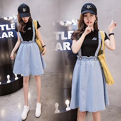 韓版寬鬆A字牛仔吊帶裙S-5XL-WHATDAY