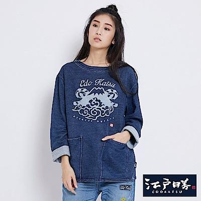 EDWIN EDOKATSU江戶勝 INDIGO口袋寬版長袖T恤-女-酵洗藍