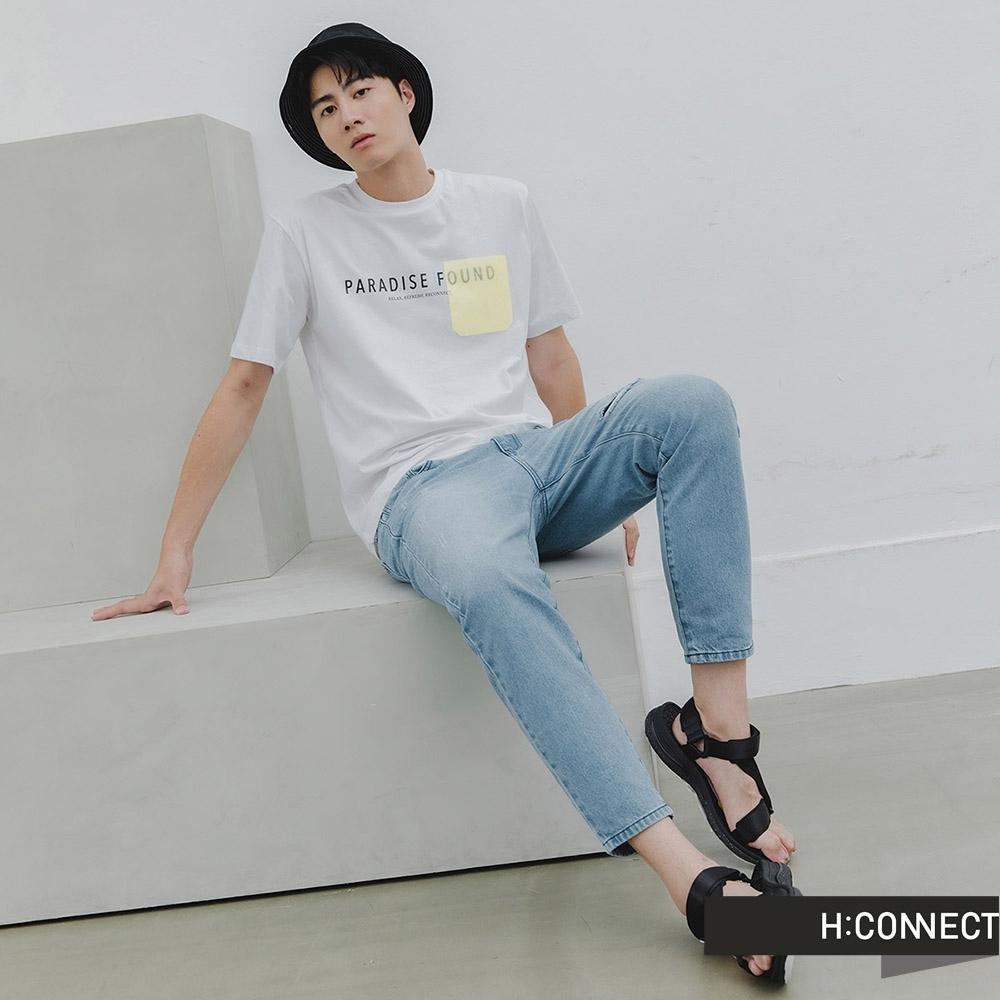 H:CONNECT 韓國品牌 男裝 -刷色割破牛仔褲-藍