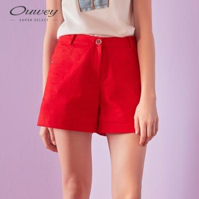 OUWEY歐薇 都會風口袋短褲(紅)