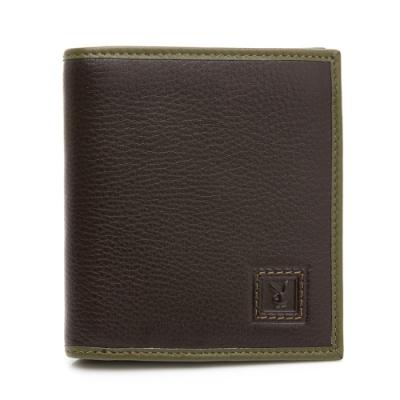 PLAYBOY- 短夾附零錢袋 Feel系列-咖綠色