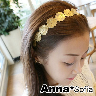 AnnaSofia 綻放金革陽花 韓式髮箍(金系)